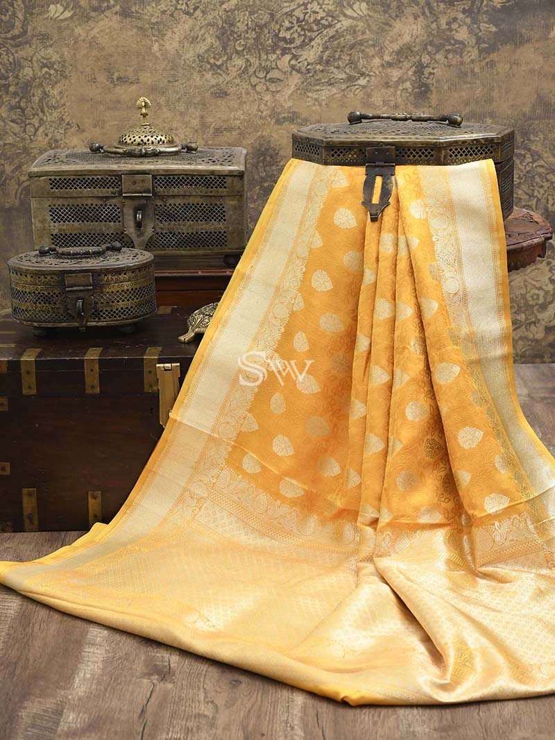 Yellow Katan Silk Handloom Banarasi Saree - Sacred Weaves