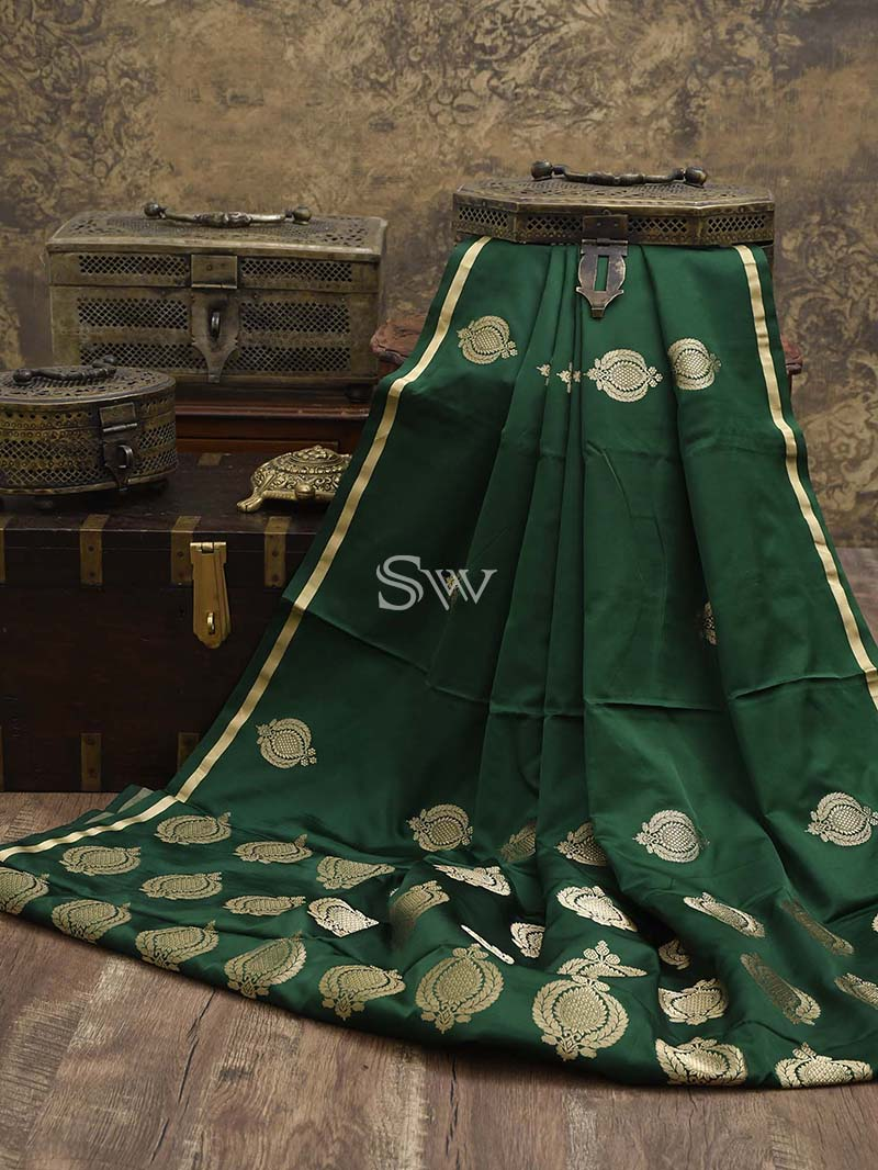 Bottle Green Satin Silk Handloom Banarasi Saree - Sacred Weaves