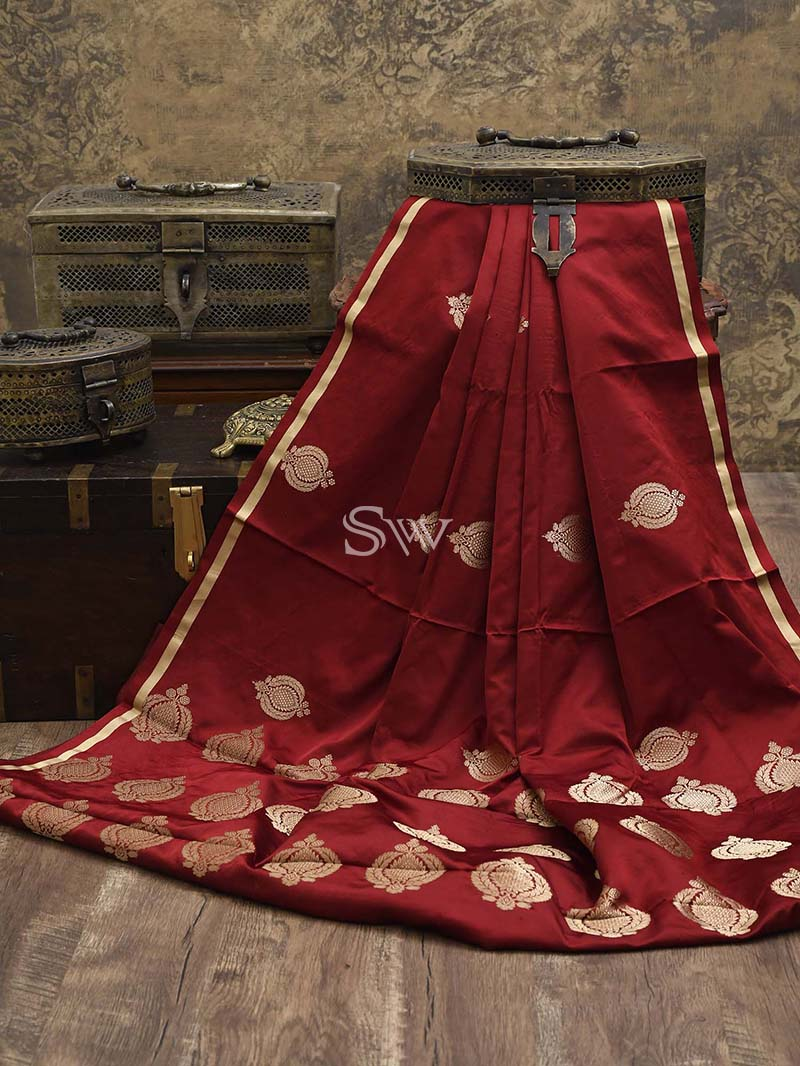 Maroon Satin Silk Handloom Banarasi Saree - Sacred Weaves