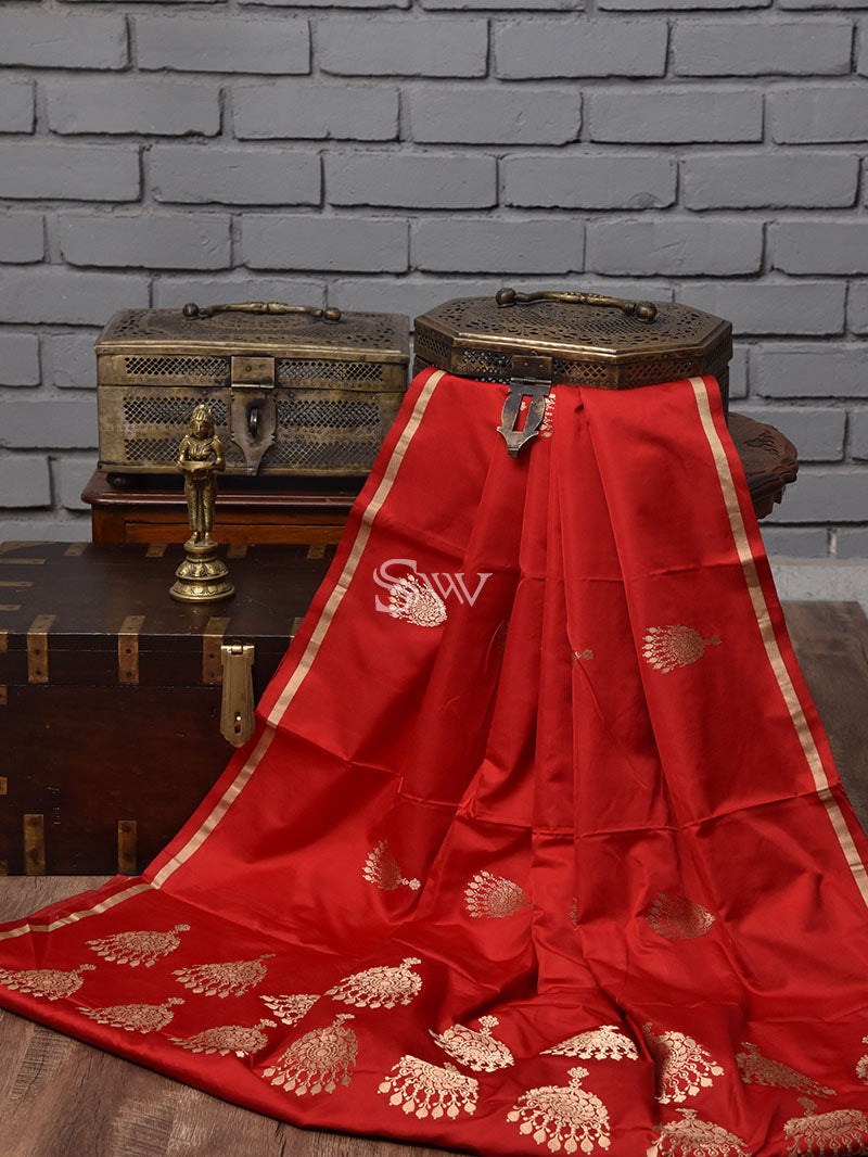 Red Satin Silk Handloom Banarasi Saree - Sacred Weaves