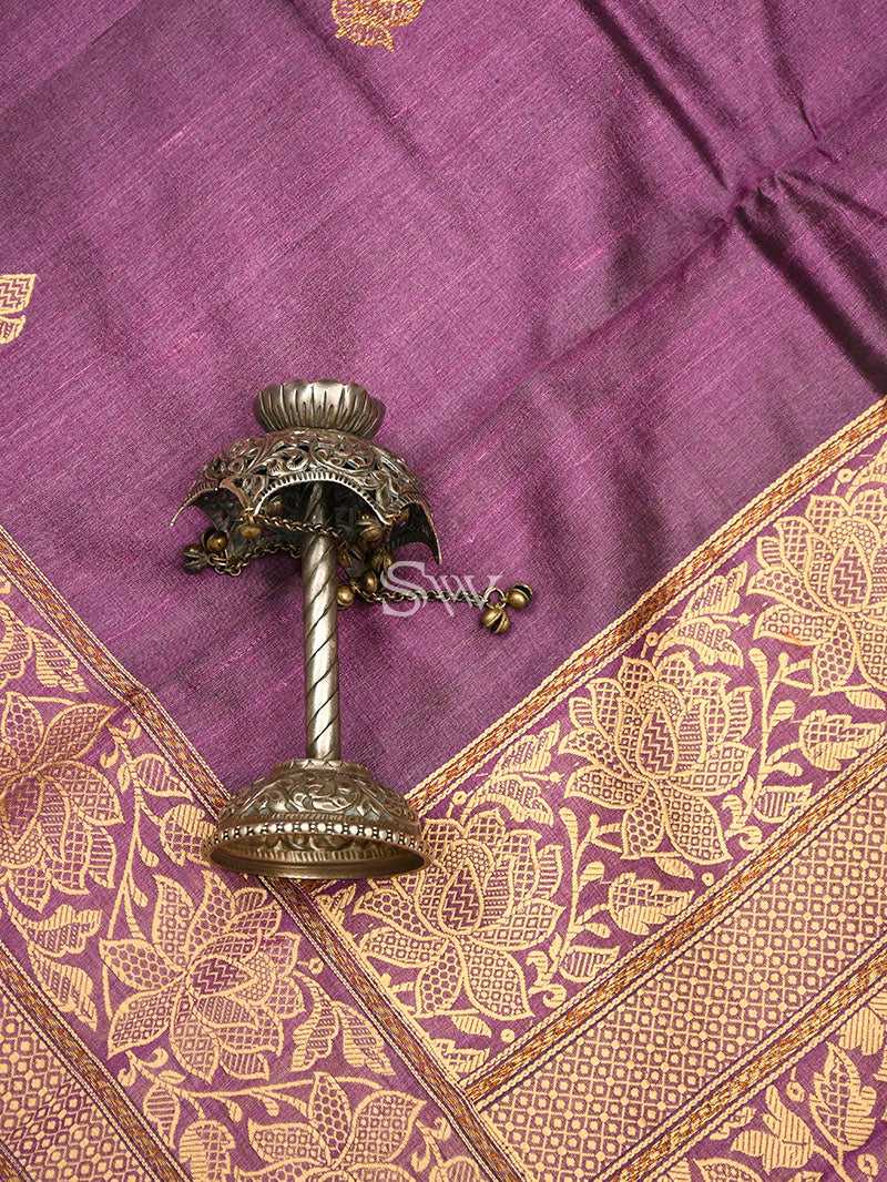 Dark Purple Tussar Silk Handloom Banarasi Saree - Sacred Weaves