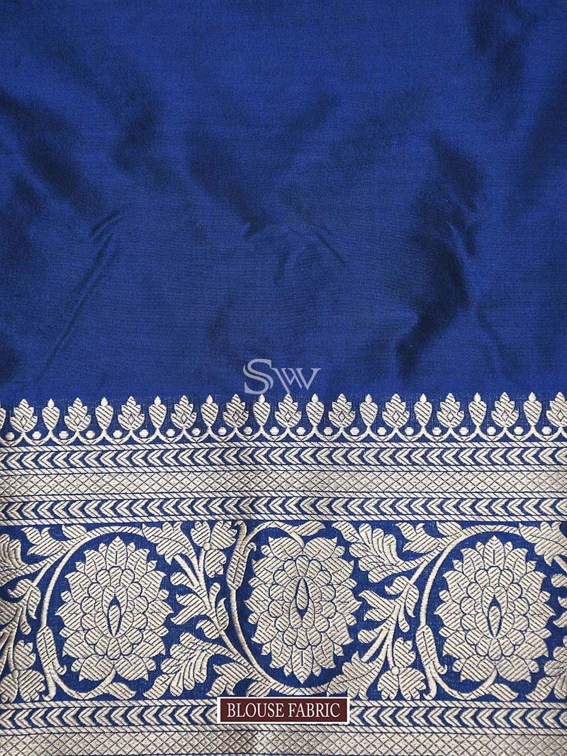 Midnight Blue Uppada Katan Silk Handloom Banarasi Saree - Sacred Weaves