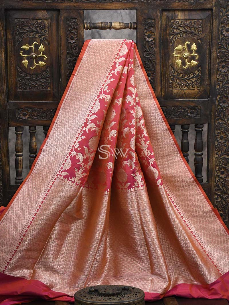 Pink - Orange Katan Silk Handloom Banarasi Saree - Sacred Weaves