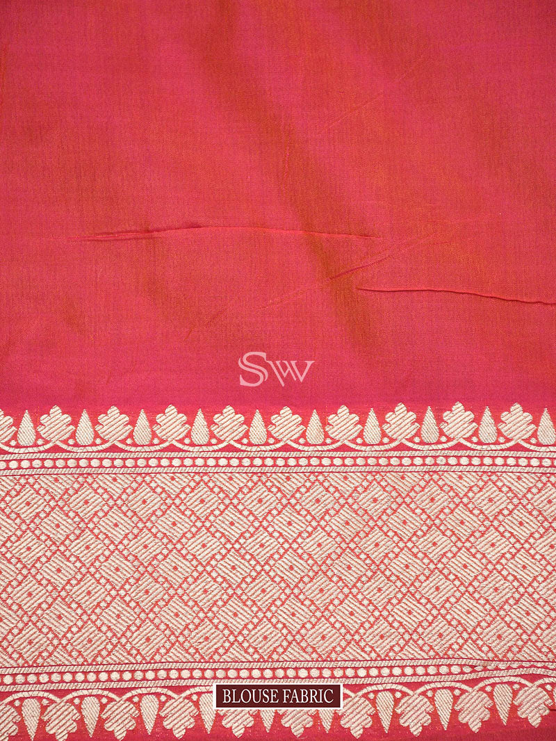 Pink Orange Uppada Katan Silk Handloom Banarasi Saree - Sacred Weaves