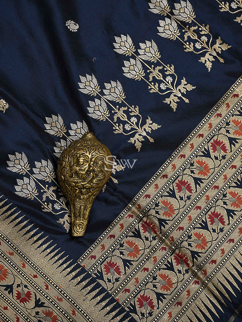 Midnight Blue Meenakari Katan Silk Handloom Banarasi Saree - Sacred Weaves