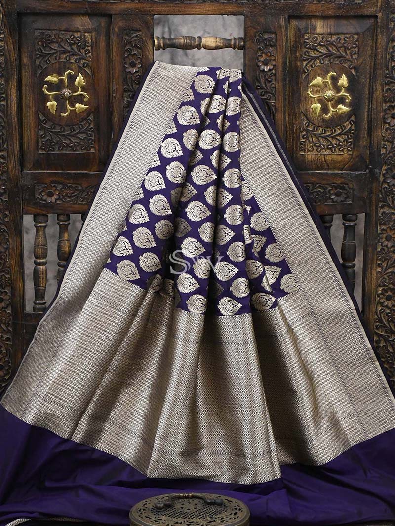 Purple Katan Silk Uppada Banarasi Handloom Saree - Sacred Weaves