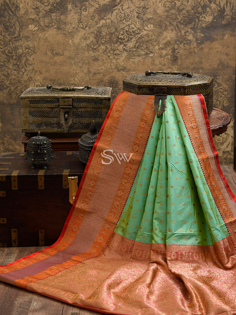 Pastel Green Katan Silk Handloom Banarasi Saree - Sacred Weaves