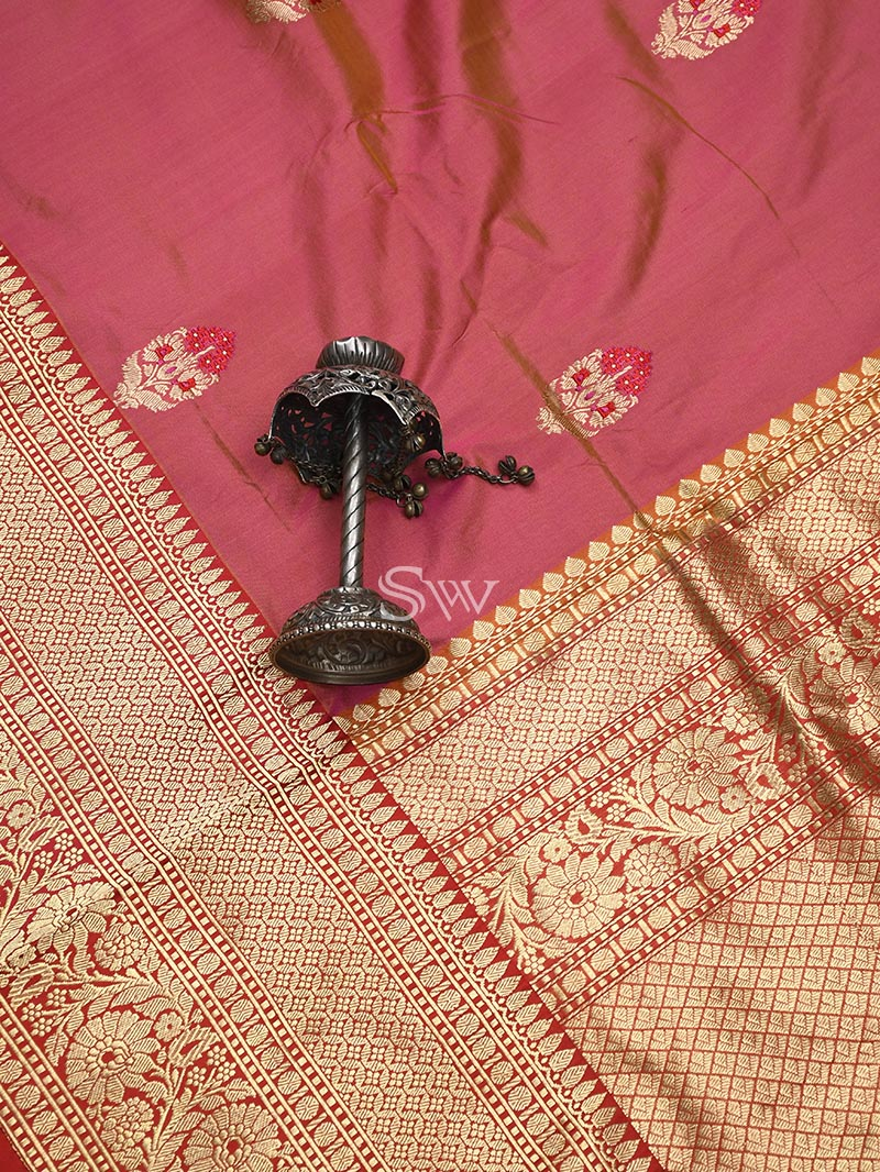 Orange-Pink Meenakari Katan Silk Handloom Banarasi Saree - Sacred Weaves