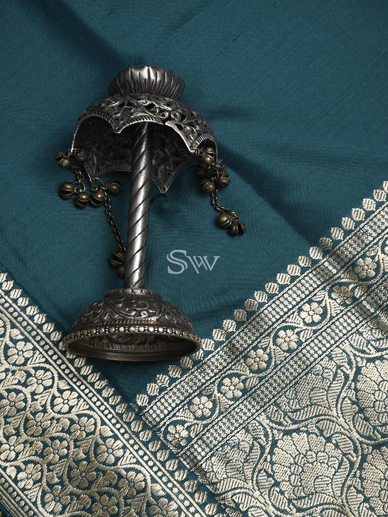 Teal Green Katan Silk Handloom Banarasi Saree - Sacred Weaves