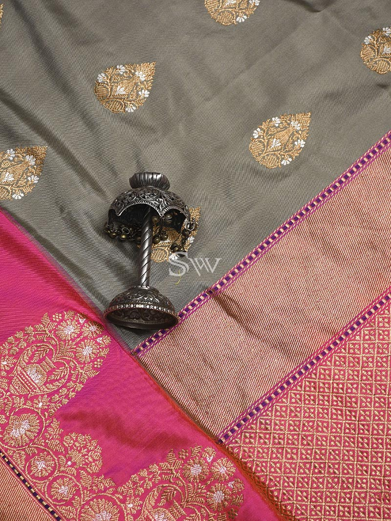 Grey Katan Silk Handloom Banarasi Saree - Sacred Weaves