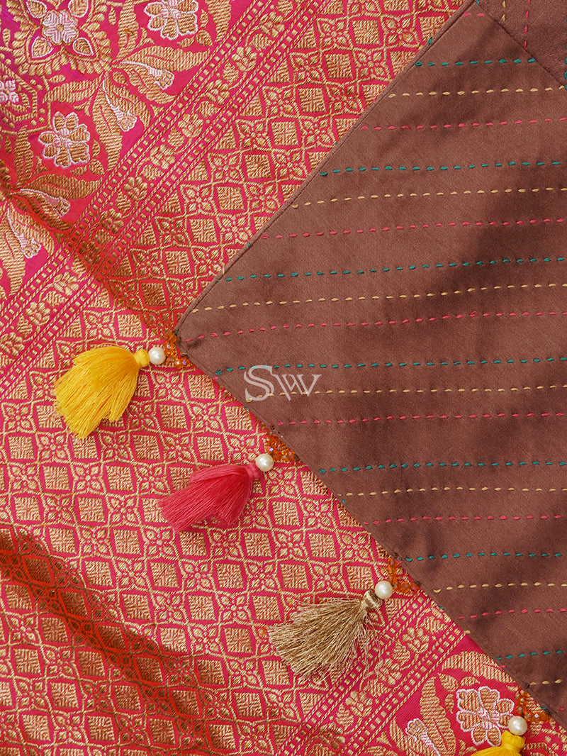 Brown Katan Silk Handloom Banarasi Saree - Sacred Weaves