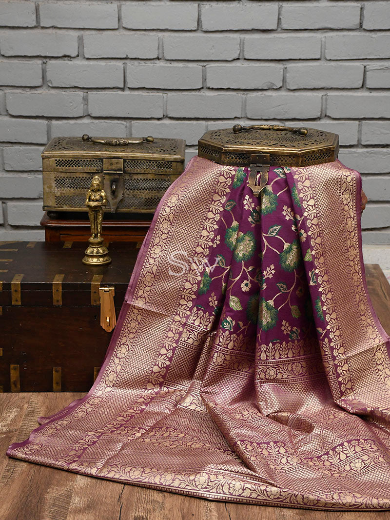 Dark Purple Moonga Tussar Silk Handloom Banarasi Saree - Sacred Weaves