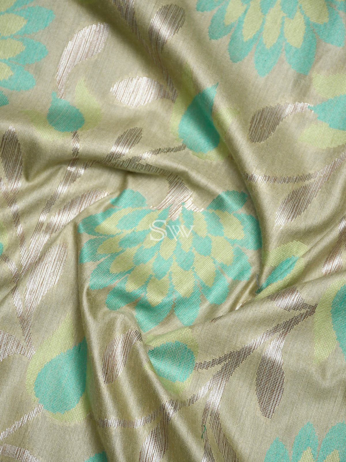 Pastel Green Moonga Tussar Silk Handloom Banarasi Saree - Sacred Weaves