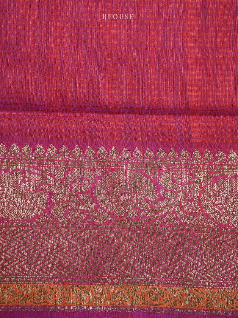 Red Dupion Silk Handloom Banarasi Saree - Sacred Weaves