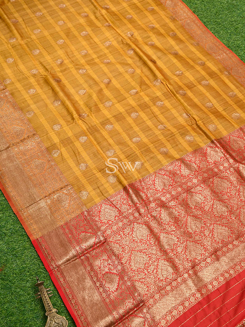 Mustard-Yellow Tussar Silk Handloom Banarasi Saree - Sacred Weaves