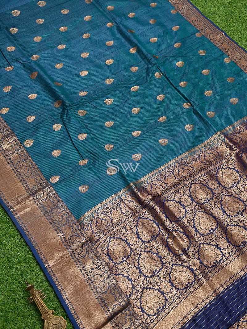 Teal Green Blue Tussar Silk Handloom Banarasi Saree - Sacred Weaves