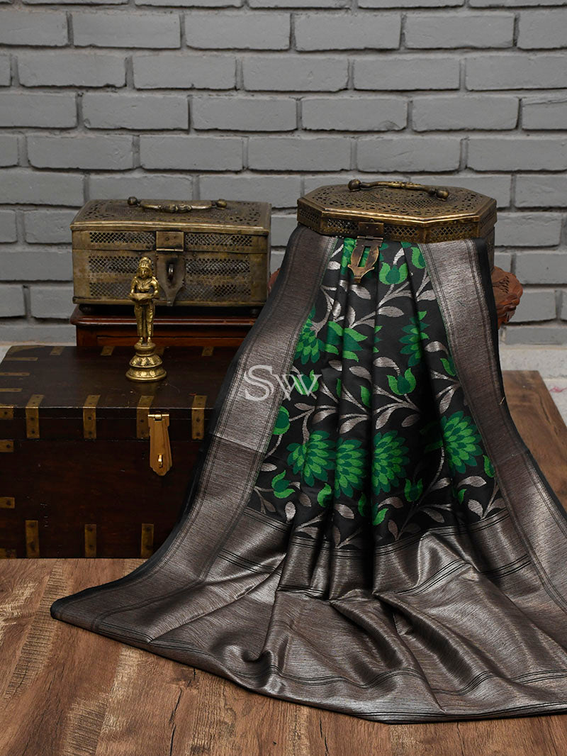 Dark Grey Moonga Tussar Silk Handloom Banarasi Saree - Sacred Weaves