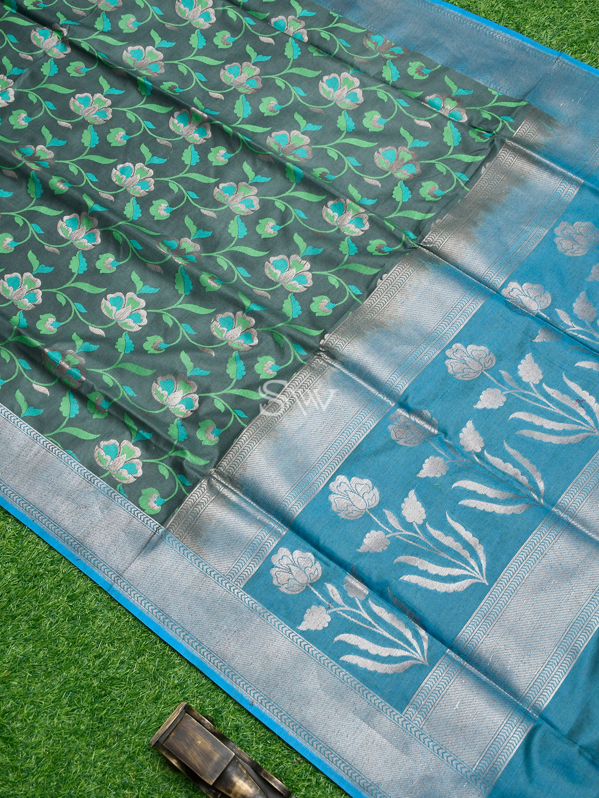 Greenish Grey Moonga Tussar Silk Handloom Banarasi Saree - Sacred Weaves