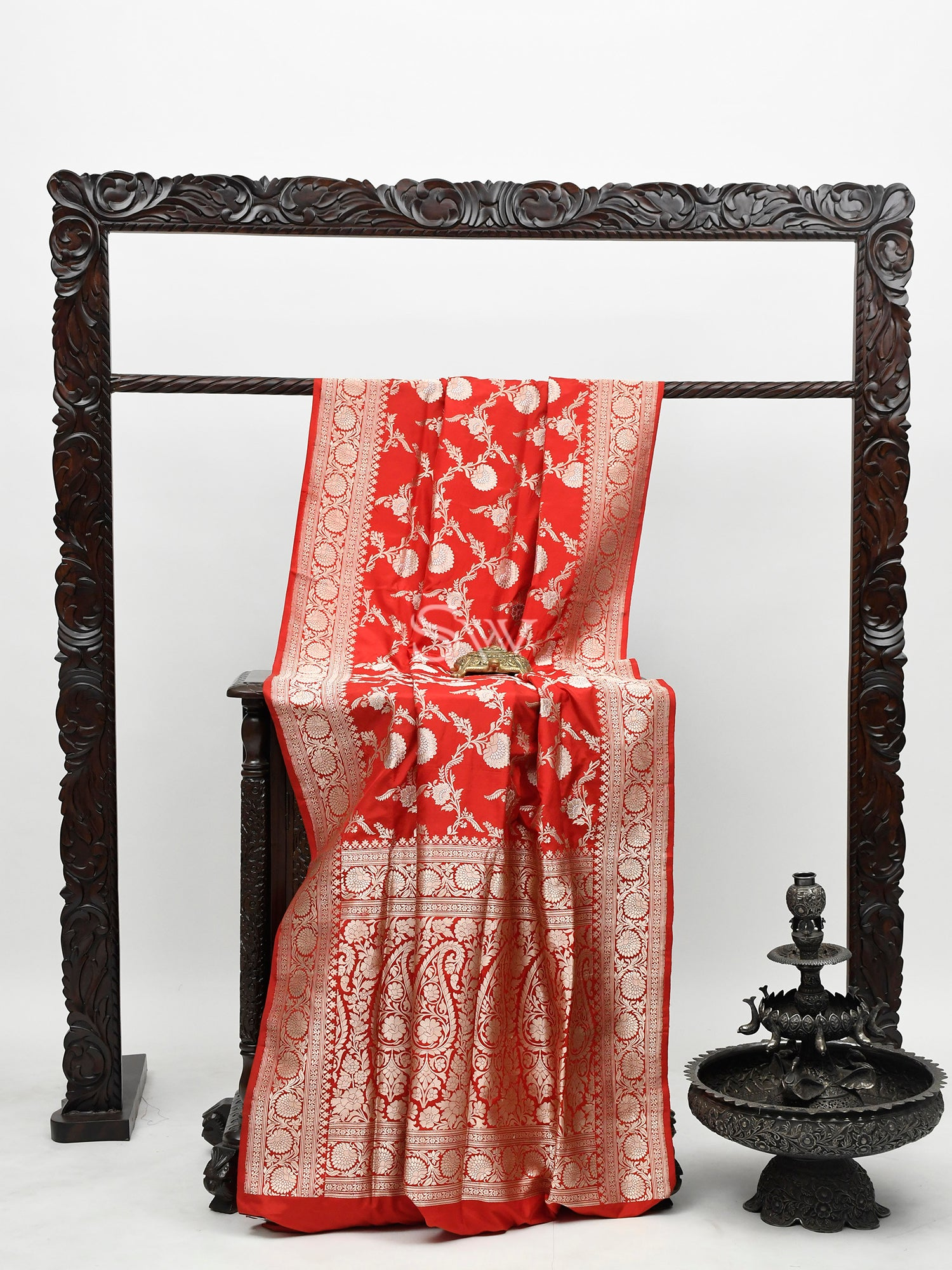 Red Katan Silk Handloom Banarasi Saree -Sacred Weaves