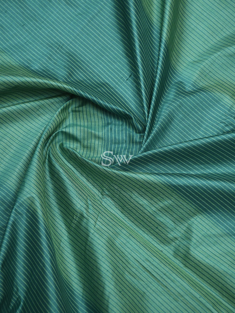 Green Stripe Katan Silk Handloom Banarasi Saree - Sacred Weaves