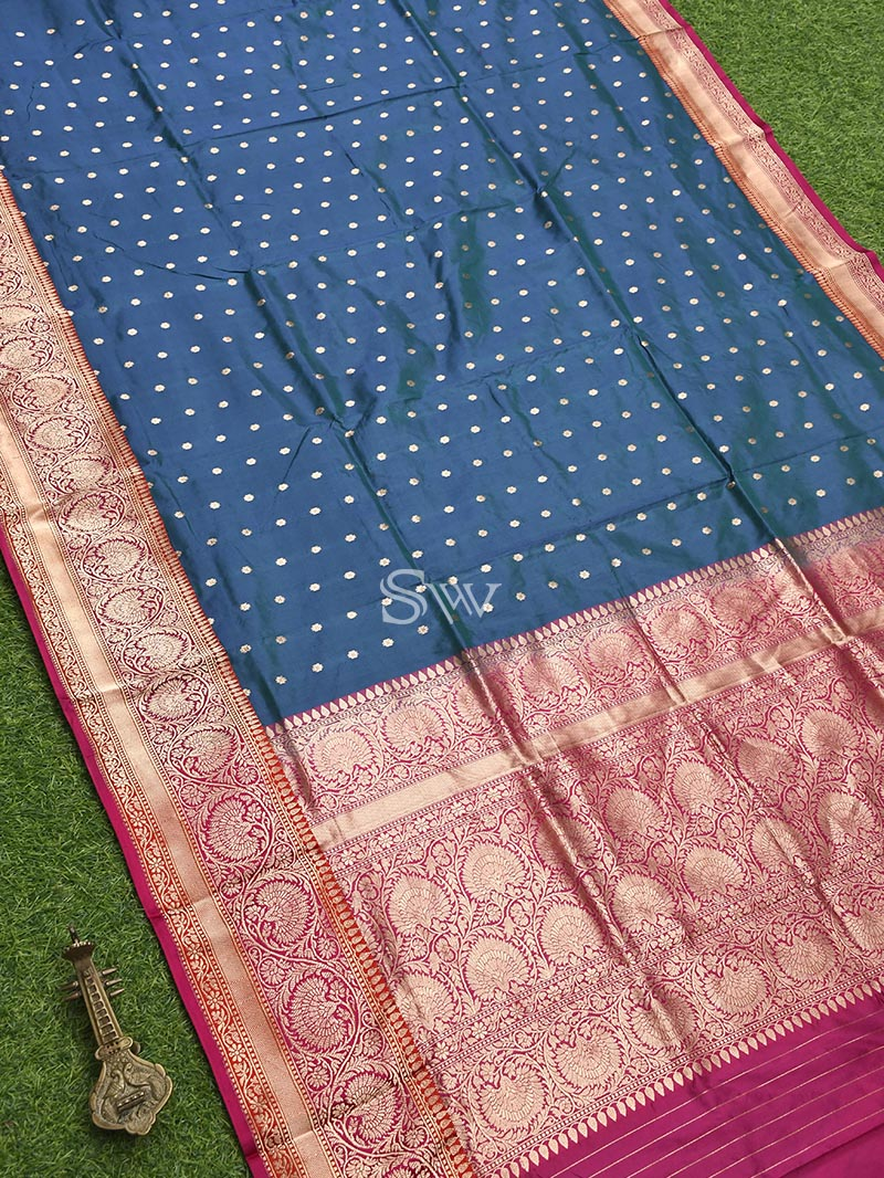 Teal Blue Katan Silk Handloom Banarasi Saree