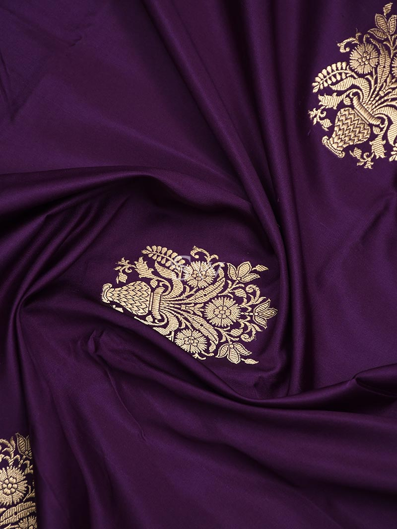 Purple Satin Silk Handloom Banarasi Saree - Sacred Weaves
