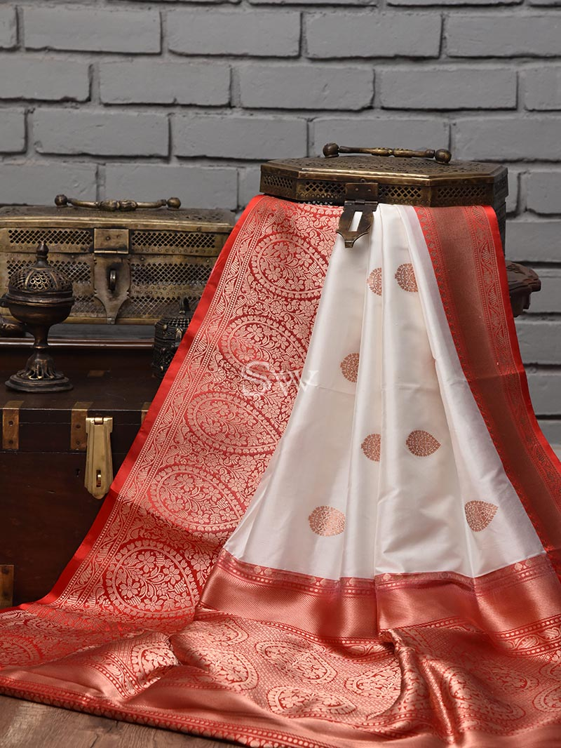 Off White Katan Silk Handloom Banarasi Saree - Sacred Weaves