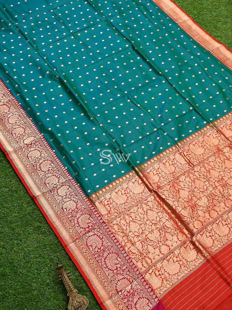 Ocean Green Katan Silk Handloom Banarasi Saree - Sacred Weaves