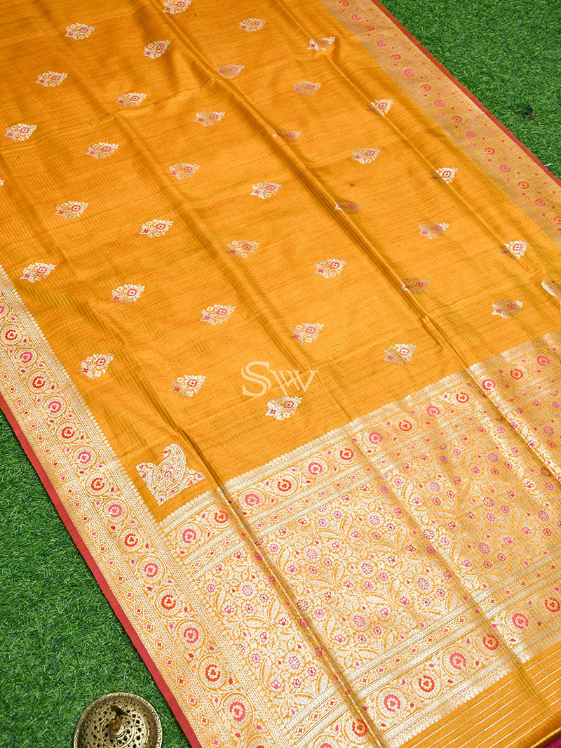 Yellow Dupion Silk Handloom Banarasi Saree - Sacred Weaves