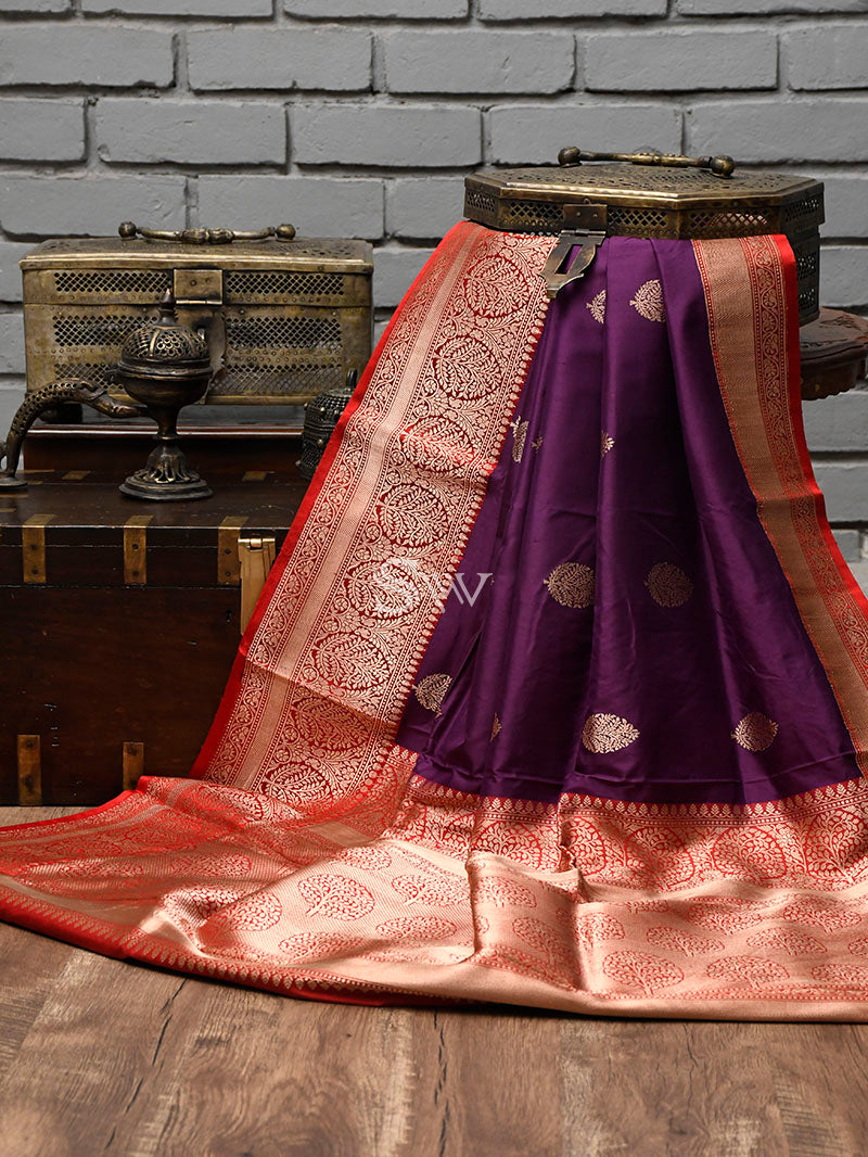 Purple Katan Silk Handloom Banarasi Saree - Sacred Weaves
