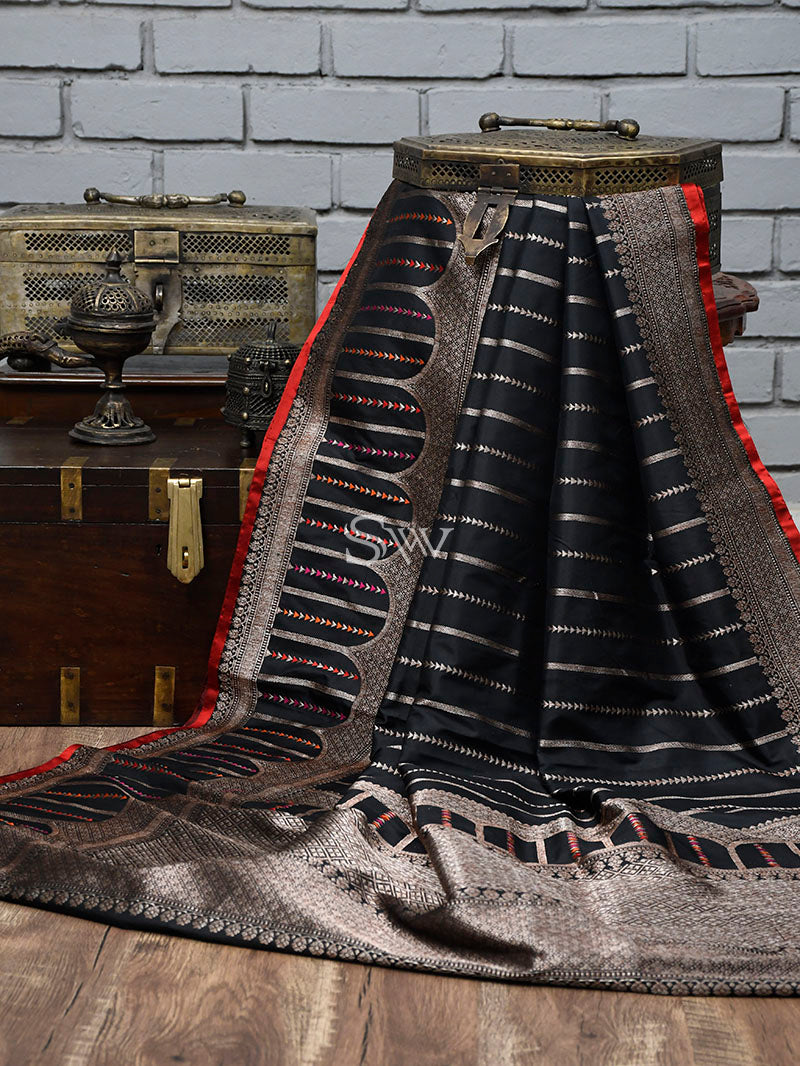 Black Stripe Katan Silk Handloom Banarasi Saree - Sacred Weaves
