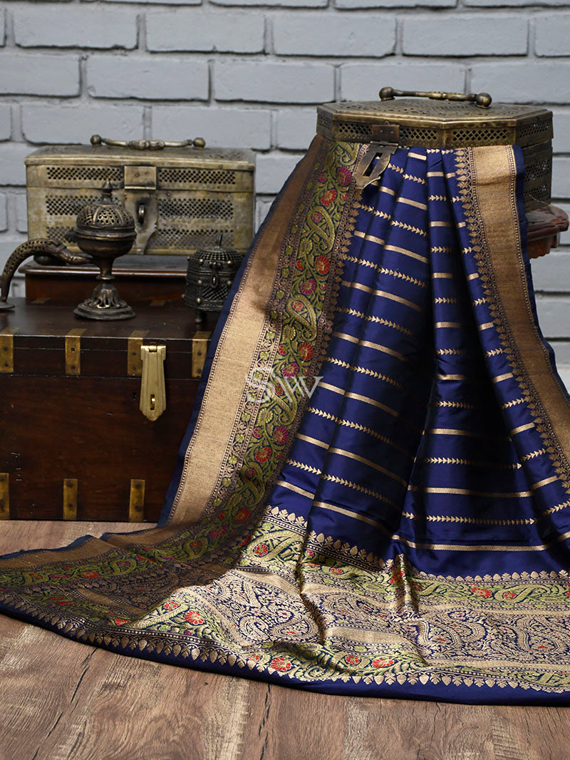 Navy Blue Stripe Katan Silk Handloom Banarasi Saree - Sacred Weaves