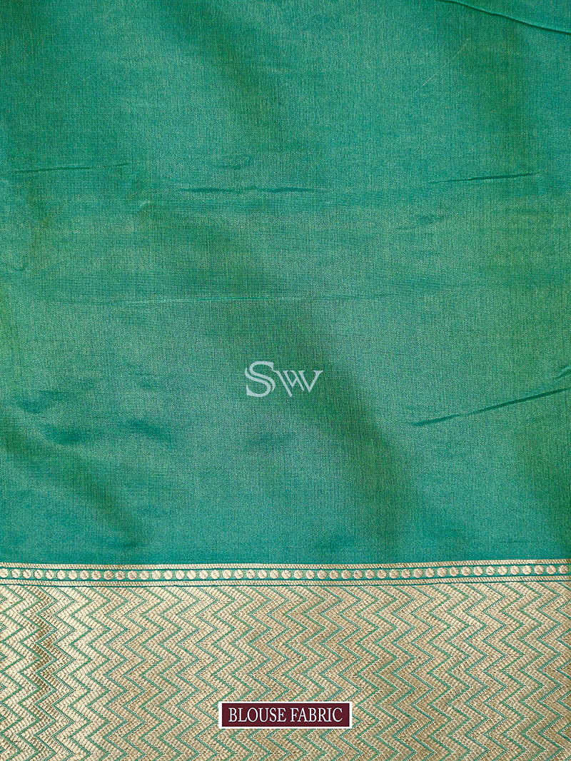 Sea Green Uppada Katan Silk Handloom Banarasi Saree - Sacred Weaves