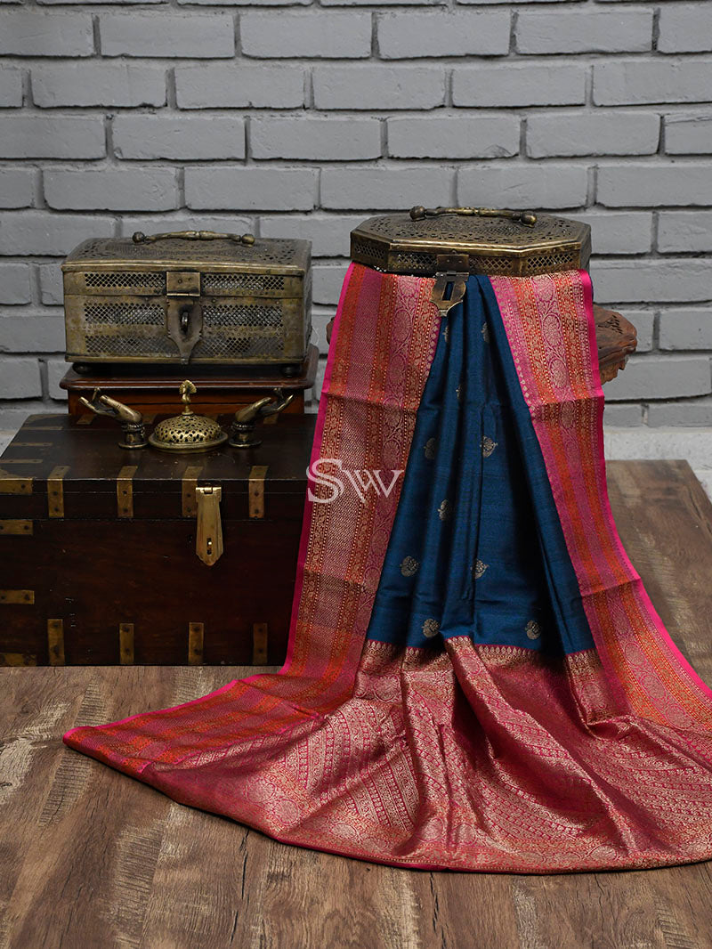 Midnight Blue Tusser Silk Banarasi Handloom Saree - Sacred Weaves