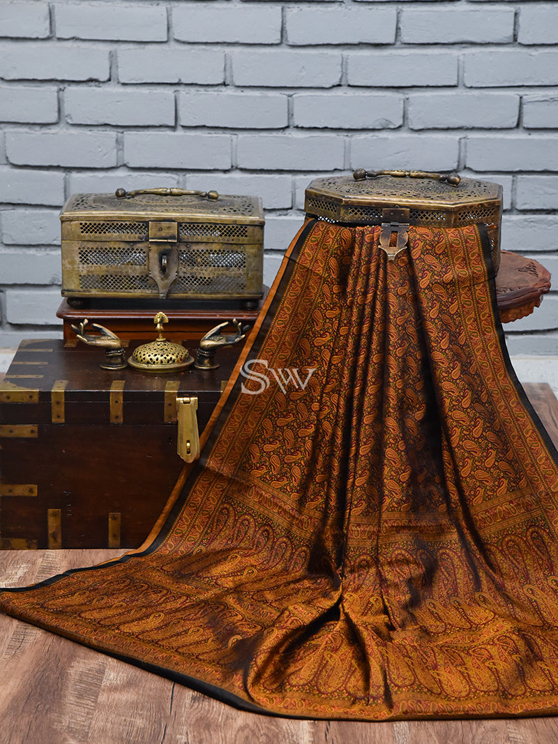 Black Brown Tanchoi Silk Handloom Banarasi Saree - Sacred Weaves