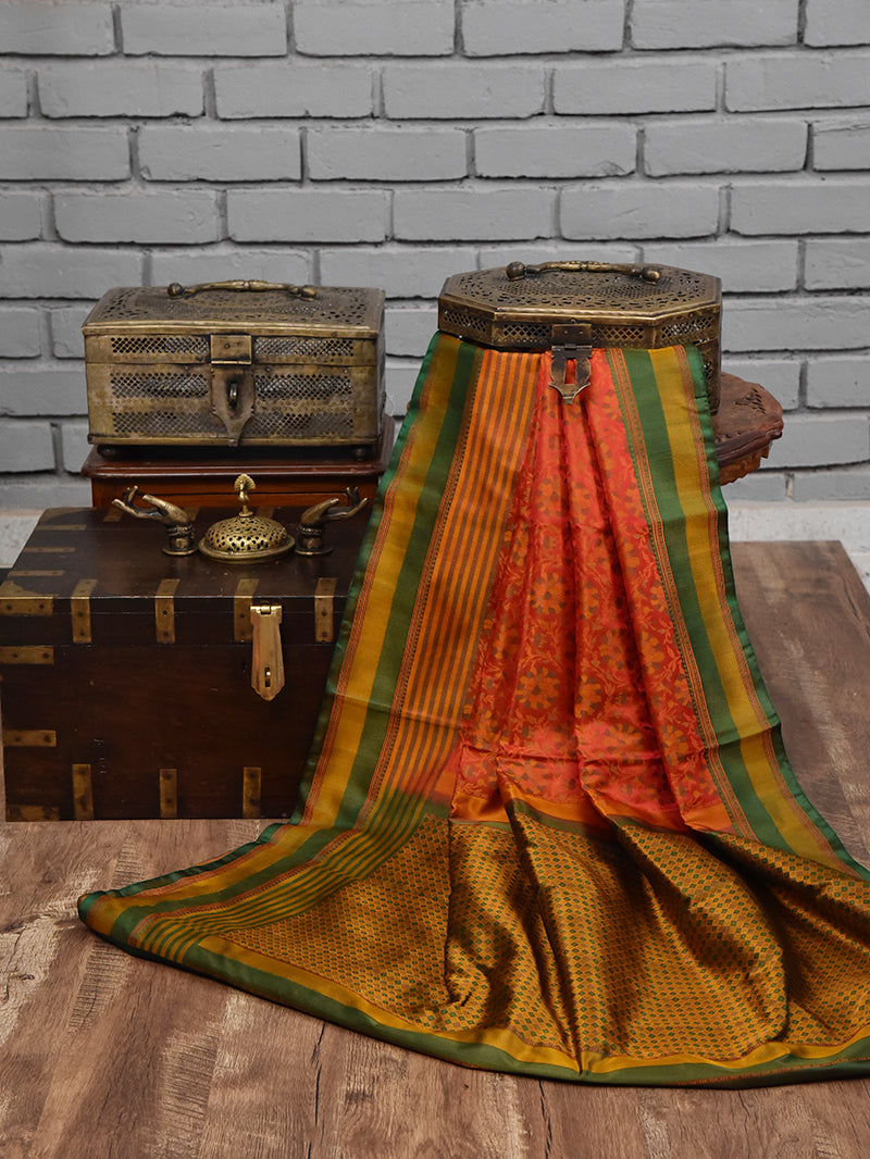 Red-Orange Tanchoi Silk Handloom Banarasi Saree -Sacred Weaves