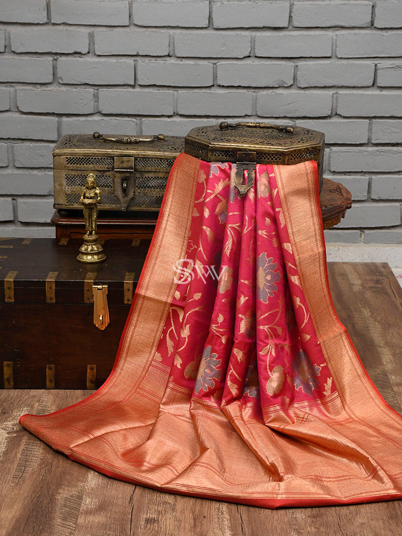 Pink Moonga Tussar Silk Handloom Banarasi Saree - Sacred Weaves