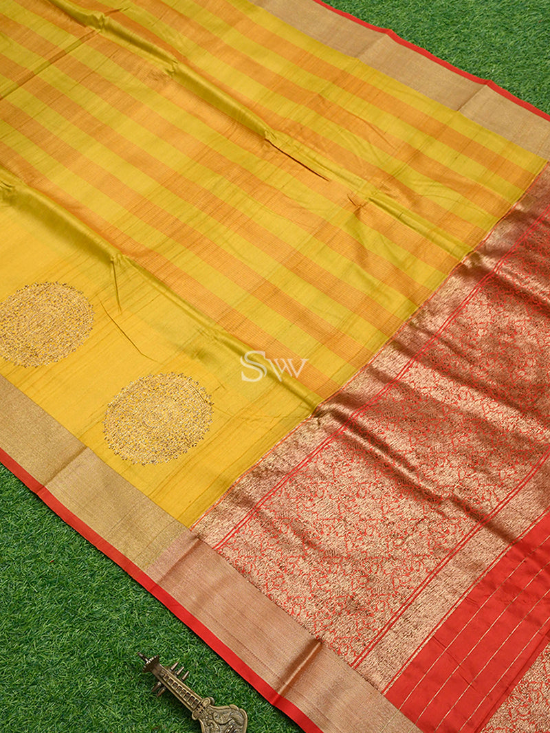 Yellow Tussar Silk Handloom Banarasi Saree - Sacred Weaves