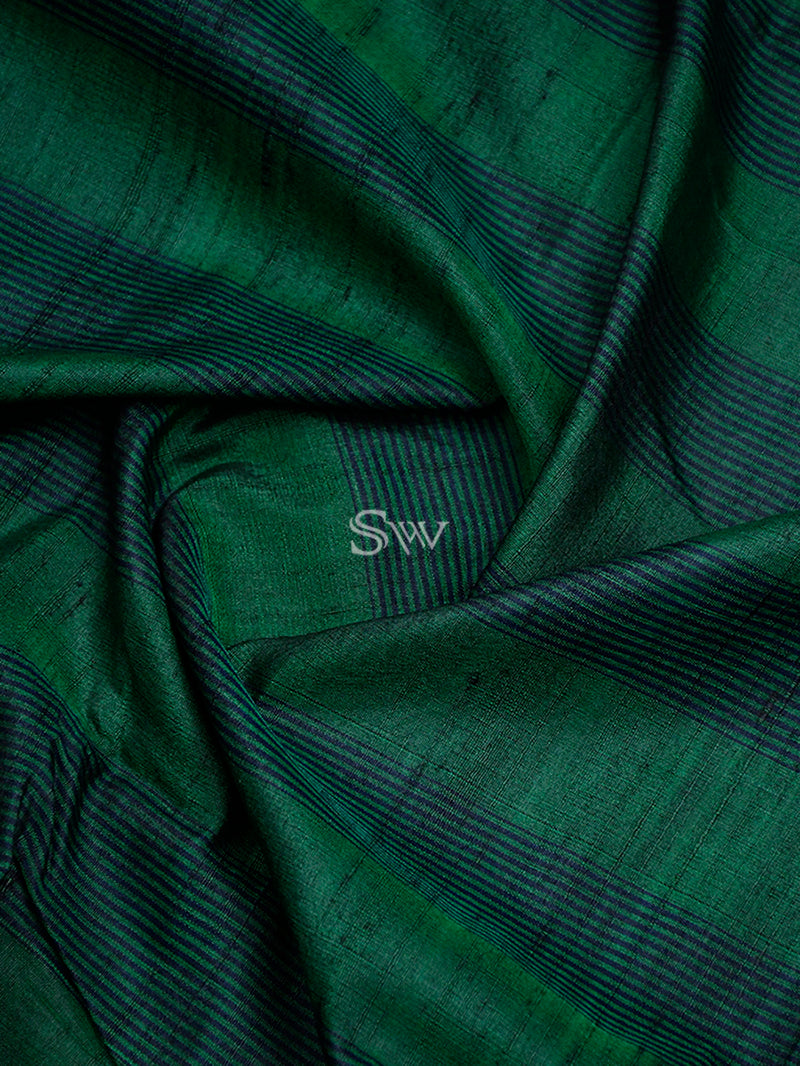 Dark Green Tussar Silk Handloom Banarasi Saree -sacred Weaves