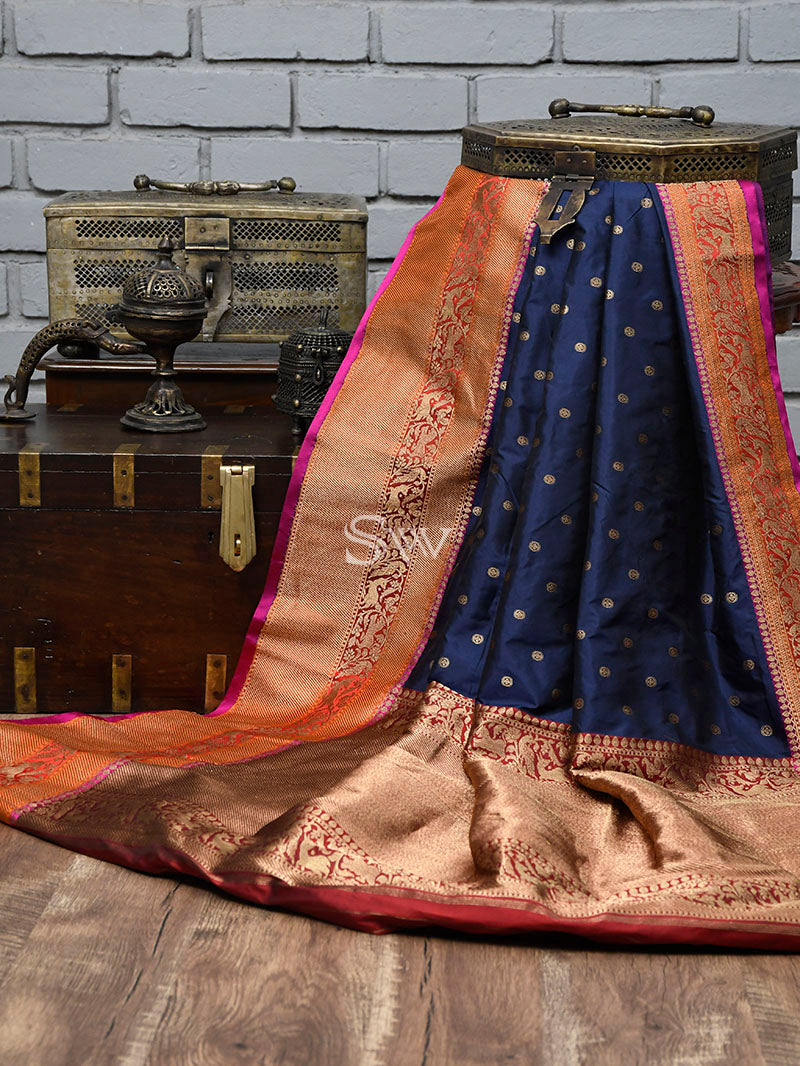Navy Blue Katan Silk Handloom Banarasi Saree - Sacred Weaves