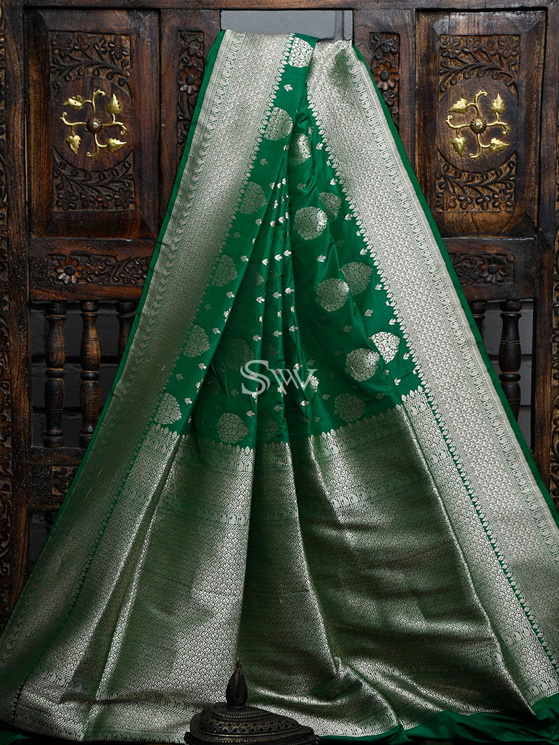 Dark Green Uppada Katan Silk Handloom Banarasi Saree - Sacred Weaves