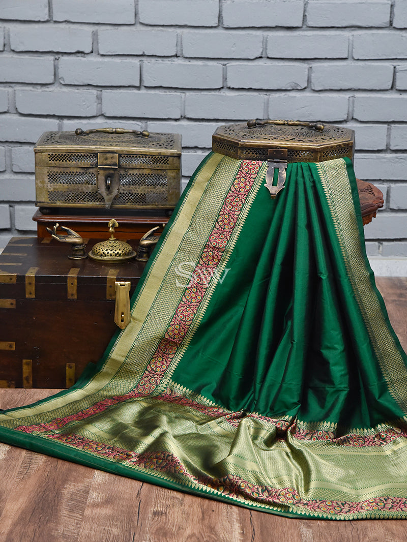 Bottle Green Meenakari Katan Silk Handloom Banarasi Saree - Sacred Weaves