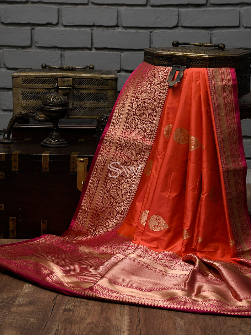 Dark Peach Katan Silk Handloom Banarasi Saree - Sacred Weaves