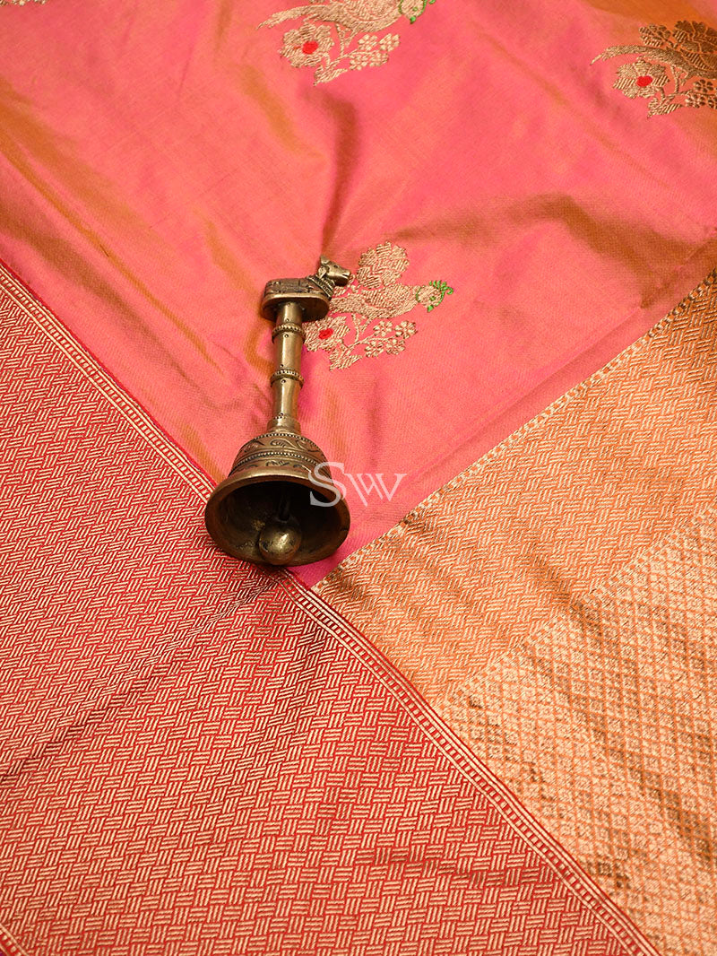 Orange-Pink Katan Silk Handloom Banarasi Saree - Sacred Weaves