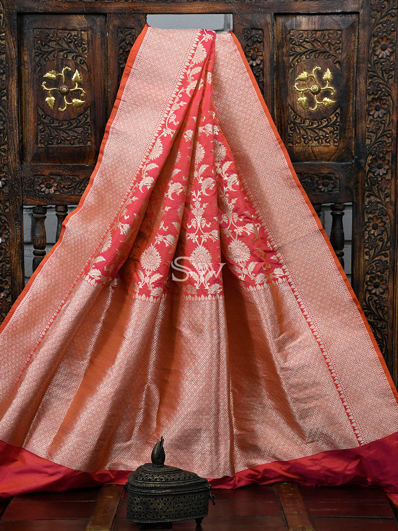 Pink-Orange Uppada Katan Silk Handloom Banarasi Saree - Sacred Weaves
