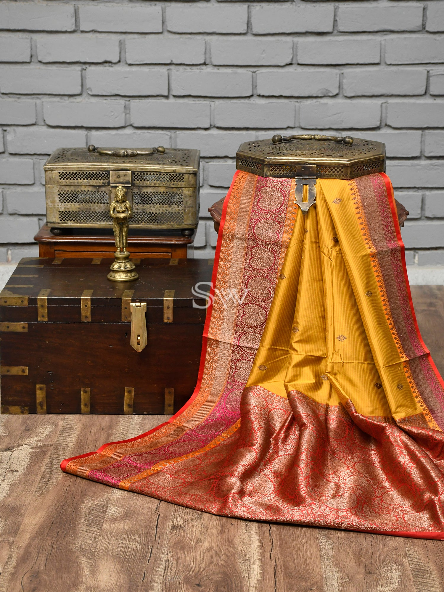 Yellow Stripes Katan Silk Handloom Banarasi Saree - Sacred Weaves