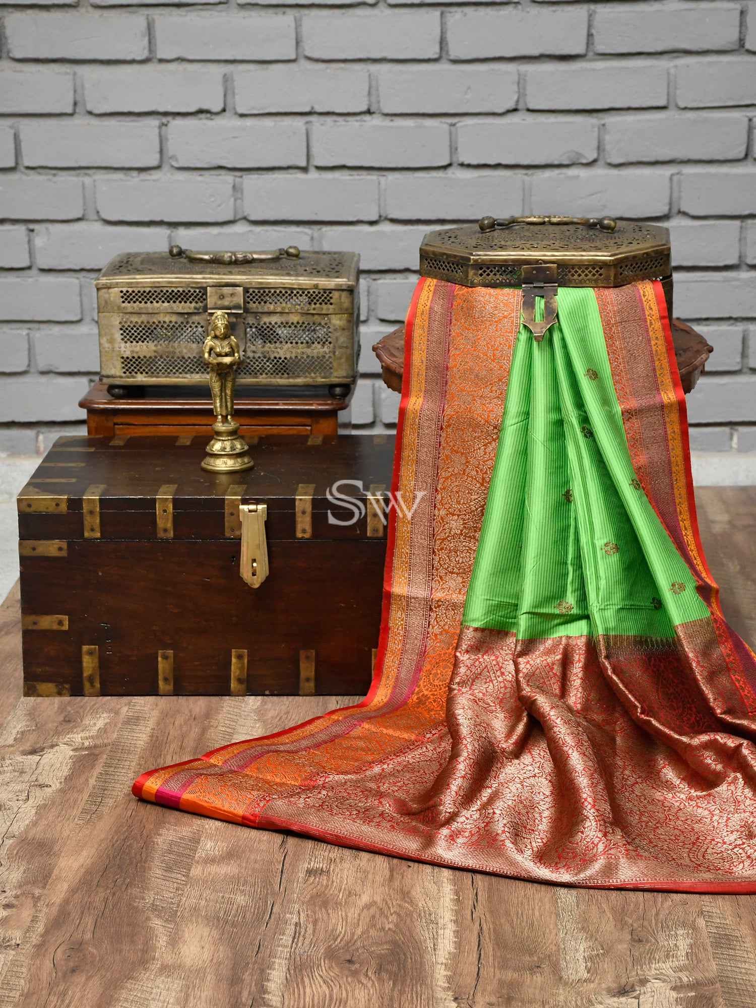 Green Stripes Katan Silk Handloom Banarasi Saree -Sacred Weaves