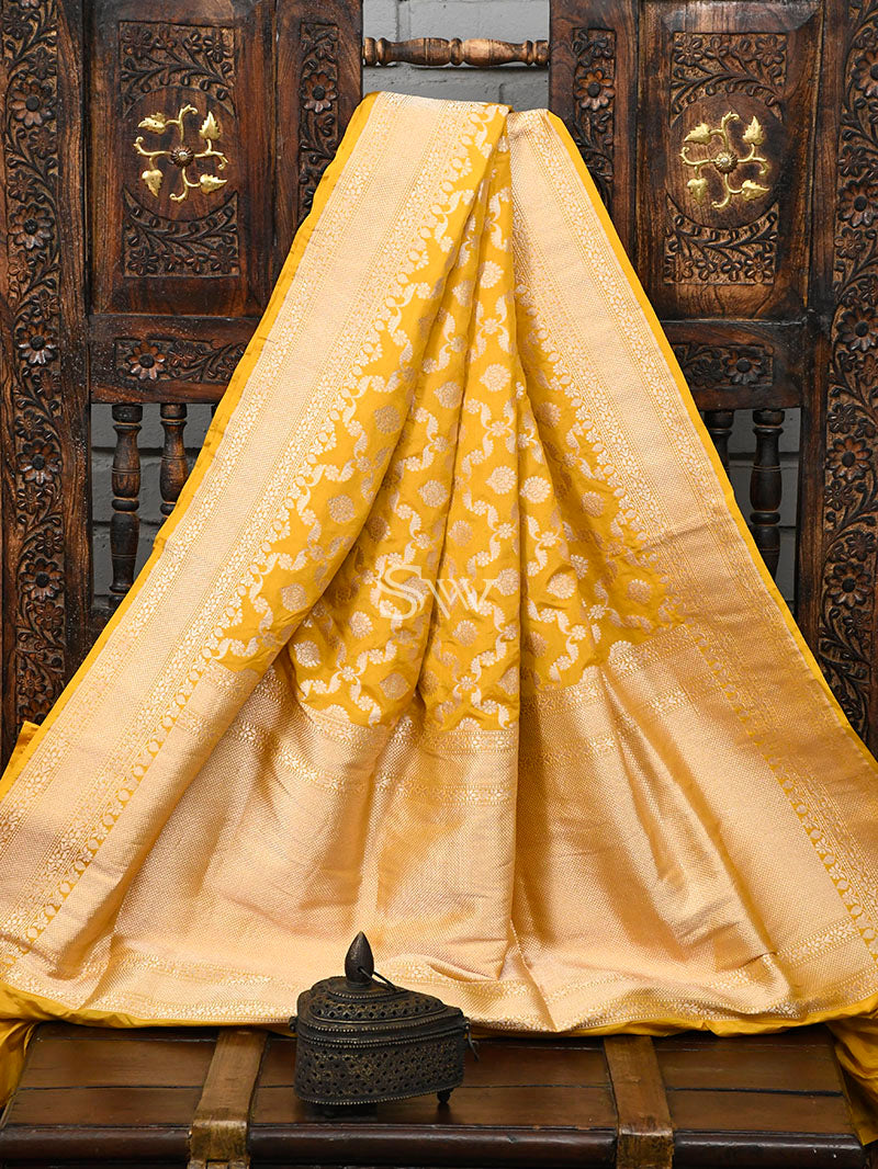 Yellow Uppada Katan Silk Handloom Banarasi Saree - sacred Weaves