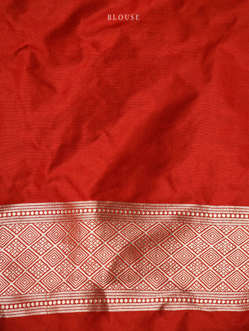 Red Uppada Katan Silk Handloom Banarasi Saree - Sacred Weaves