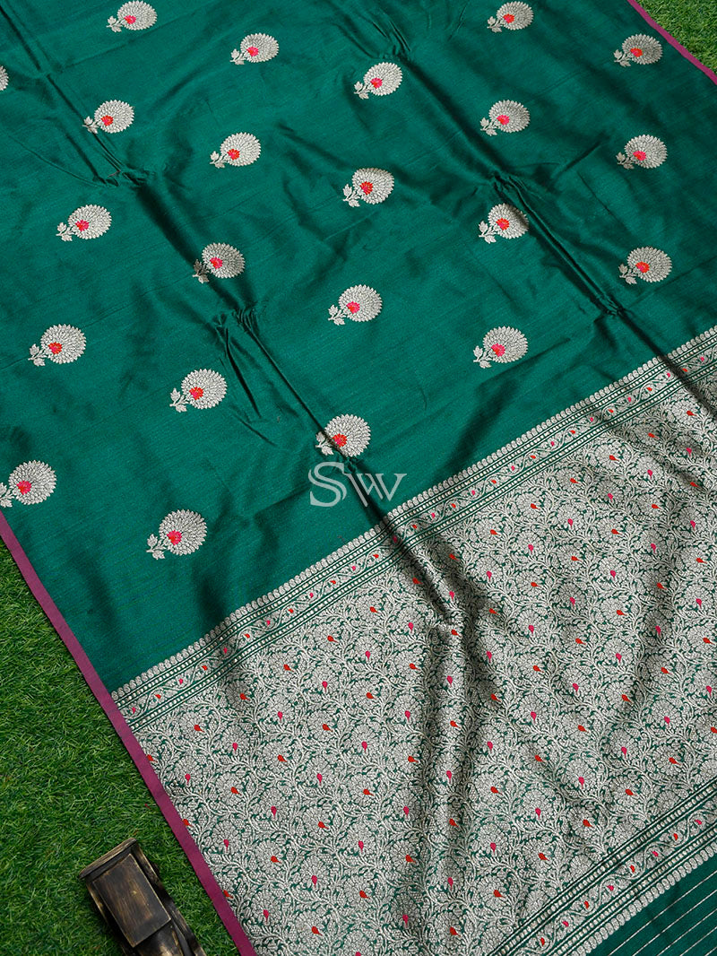 Bottle Green Meenakari Tussar Silk Handloom Banarasi Saree - Sacred Weaves